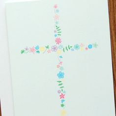 floral cross card // baptism // confirmation // Easter
