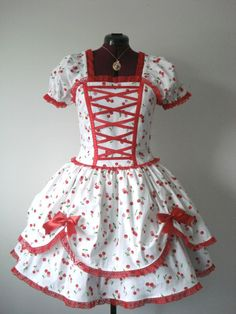 i love this dress it would be awesome with a petticoat underneith.Cherry Cake Lolita Dolly Dress by Loliposh on Etsy, $125.00