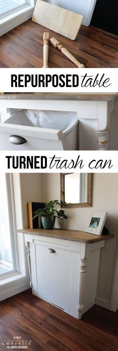 Repurposed Table Turned Wood Tilt Out Trash Can - Basket Bin - Ideas of Basket Bin - Inspiration is coming your way! Ever wondered what you could do with that old table you have lying around? Well turn it into a wood tilt out trash can! Furniture Projects, Furniture Makeover, Home Projects, Furniture Movers, Diy Design, Interior Design, Design Ideas, Diy Storage, Food Storage