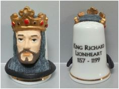 Ricardo Corazón de León. Dedal de porcelana, estaño pintado a mano