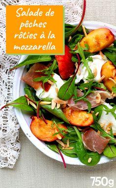 Salade de pêche rôties à la mozzarella