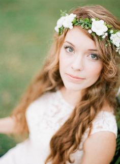Flower Crown of Ivory Rose and Green Fern and by BeSomethingNew