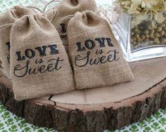 """Love is Sweet"" Burlap Drawstring Favor Bag (Set of 12) By Kate Aspen"