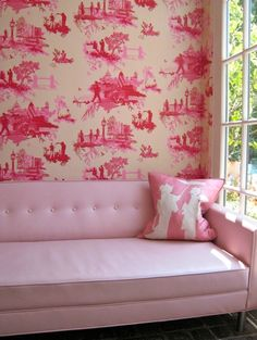 Devine. Chinese Toile wallpaper and pillow and 1940 sofa