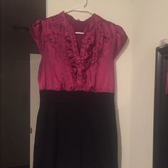 Pink Ruffled Colorblock Dress Great for a date night! Worn only a couple of times. Runs small! Forever 21 Dresses Mini