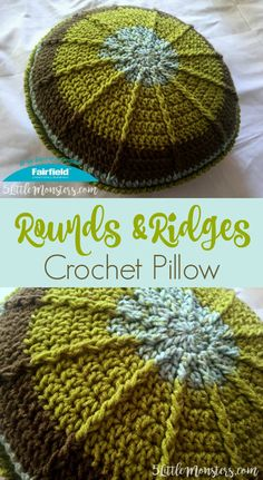 The rounds and ridges crochet pillow is made with a round pillow insert from Fairfield World and Sweet Rolls yarn. Back post double crochet add texture to the pillow.