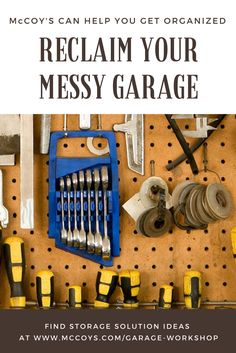 Reclaim your messy garage! These storage solutions will help you get organized in no time! www.mccoys.com Garage Workshop Organization, Organization Ideas, Storage Ideas, Garage Storage Solutions, Getting Organized, Tools, Baking, Model, Recipes