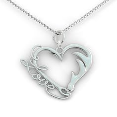 Fishing and Hunting Love Pendant (.925 silver)