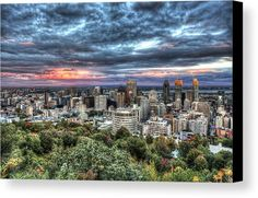 Montreal Skyline Sunset From Mount Royal Canvas Print by Shawn Everhart.