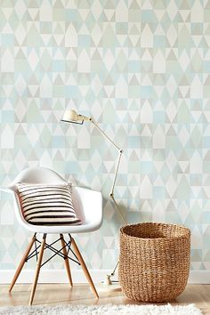 Alice wallpaper by Majvillan in Turquoise Old Wallpaper, Geometric Wallpaper, Retro Tapet, Easy Up, Glass Cabin, Family Dining Rooms, Alice, Designer Wallpaper, Home And Living