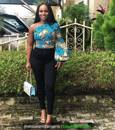 Smart Ways to Combine Ankara Tops With Jeans In 2020 African Fashion Ankara, Latest African Fashion Dresses, African Print Dresses, African Print Fashion, Africa Fashion, African Print Pants, African Prints, African Fabric, African Dress