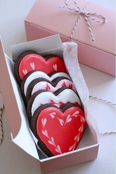 A box full of heart cookies