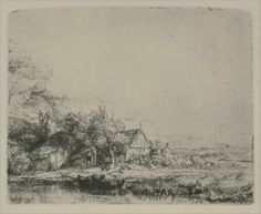 Rembrandt van Rijn -- Landscape with a Cow Drinking 1649 104 x 129 mm. Rembrandt Etchings, Rembrandt Drawings, Landscape Drawings, Landscape Prints, Cross Hatching, Dutch Painters, Vintage Wall Art, Art Sketchbook, Art Prints
