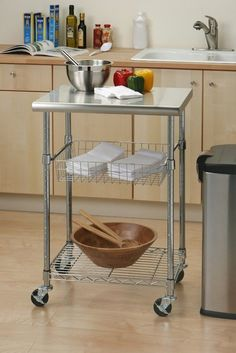 Seville Classics Stainless Steel Professional Kitchen Cart Cutting Table This versatile and multi-functional Seville Classics Stainless Steel Top Professional Kitchen Cart, Kitchen Furniture, Stainless Steel Table Top, Stainless Steel Kitchen Cart, Steel Kitchen, Kitchen Work Station, Kitchen Roll, Kitchen Tops, Kitchen Utility Cart