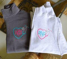 1/4 Zip Sweatshirts Monogrammed Nurse's 1/4 by StitchedInStyle1