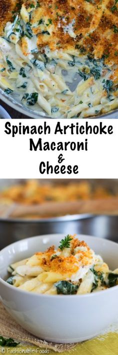 A classic dip takes on mac and cheese! Spinach artichoke macaroni and cheese is creamy, comforting, and can be made ahead – perfect for game day!