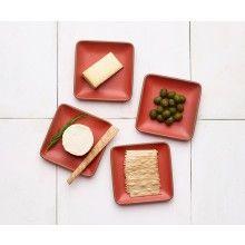 Plates, Suede Red, Set of 4 - Heath Ceramics Heath Ceramics, Made In America, Dinnerware, Pottery, Plates, Entertaining, Seasons, Classic, Desserts