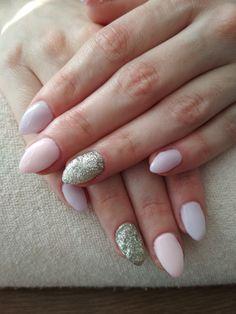purple and pink gel, silver glitter