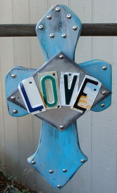 Love Wooden Cross License Plate Art Handcrafted by dables on Etsy, $40.00