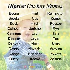 The hipster cowboy aesthetic is masculine but self-aware of gender expression. These names are cool, yet friendly and approachable. Hipster cowboy names appeal to a broad range of modern parents, and we expect them to continue to rise in popularity. Click through for more! #babynames #uniquenames #cowboynames #cowboys Hipster Baby Names, Cool Baby Names, Cute Names, Name Writing, Writing Tips, Cool Fantasy Names, Gnome Names, Cowboy Names, Southern Baby Names
