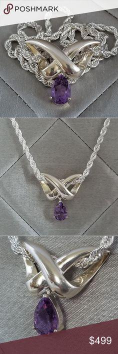 Royal Crown Silver Heart CZ Amethyst Charm Pendant Necklace Purple Gift Box H2
