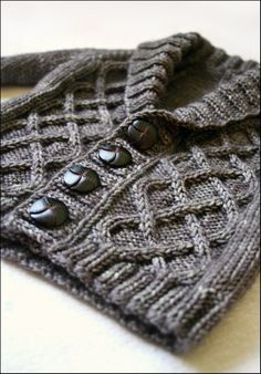 Baby sweater with Celtic cables and shawl collar. Who could ask for more? ;) Gramps cardigan $6 on rav