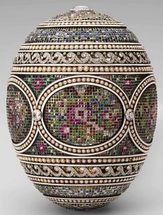 The Mosaic Egg, gold, platinum, diamonds, rubies, emeralds, topazes, sapphires, garnets, pearls, 1914. Presented by Nicholas II to Tsarina Alexandra Fyodorovna. The Royal Collection London