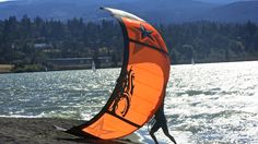 Kite surfing on the Columbia River in Hood River Oregon