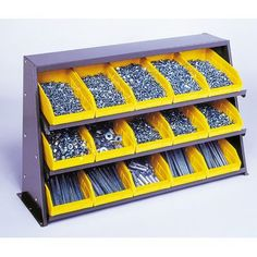 "Quantum Bench Pick Rack Storage Systems Bin Dimensions: 4"" H x 11 1/8"" W x 11 5/8"" D (qty. 9), Bin Color: Yellow"