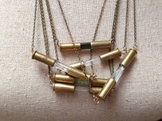 CLEAR QUARTZ Crystal Bullet Necklace. .22cal casing capsule style on Etsy, $40.00 Bullet Shell Jewelry, Bullet Casing Jewelry, Bullet Ring, Bullet Necklace, Bullet Art, Ammo Jewelry, Brass Jewelry, Jewelry Crafts, Handmade Jewelry