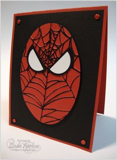 Spiderman!! used a spiderweb embossing folder and  inked the raised section...great innovation...