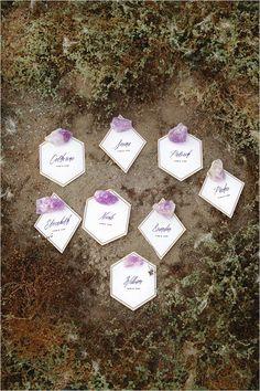 geometric wedding ideas   purple and white escort cards   geode wedding ideas   #weddingchicks