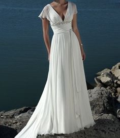 Vintage Chiffon Beach Wedding Dress Cap Sleeves Plus size Wedding Dress Bridal Gown Bridesmaid Dress with Train  V neck Buttons Beading. $227.00, via Etsy. call re color