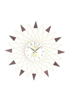 George Nelson Banker Clock, Gold/Walnut