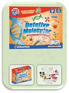 Com DETETIVE MOLECULAR Descobre: - O que nos torna diferentes uns dos outros - O que é o DNA - Como se transmite a informação genética de pais para filhos - Porque será que eu tenho sardas e o meu irmão não - Como extrair DNA de frutas ou comparar perfis de impressão digital recolhidos de cenas de crime.
