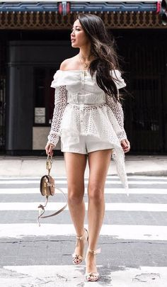 >>>Cheap Sale OFF! >>>Visit>> amazing outfit / white shorts bag lace off shoulder top heels Summer Outfits Women 30s, Summer Outfits For Moms, Summer Outfit For Teen Girls, Summer Dress Outfits, Summer Fashion Outfits, Cool Outfits, Women's Fashion, Lookbook Mode, Fashion Lookbook