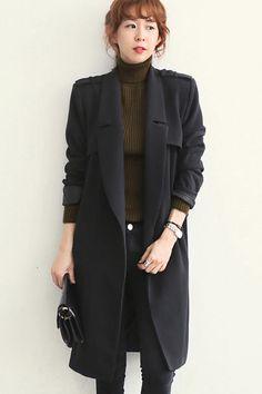 Fashion V Neck Long Sleeve Single Breasted Black Polyester Coat