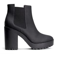 H&M Platform boots ($33) ❤ liked on Polyvore featuring shoes, boots, ankle booties, heels, sapatos, black, high heel booties, black heel booties, chunky heel boots and black ankle booties