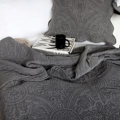 Charcoal Quilted Bedspread for the French Style Bed