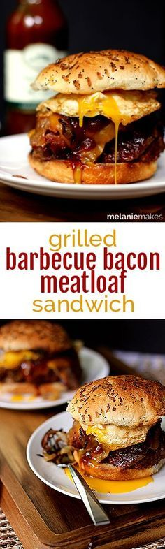 A thick slice of grilled, bacon wrapped meatloaf covered in a melty slice of sharp cheddar cheese, topped with bourbon caramelized onions, more barbecue sauce and a fried egg.  This Grilled Barbecue Bacon Meatloaf Sandwich is the king of all sandwiches.