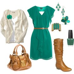 teal and brown - dresses and boots