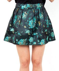 Another great find on #zulily! Black & Green Floral Pleated Skirt by Whistle & Wolf #zulilyfinds