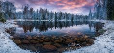 nature, Landscape, Winter, Sunrise, Lake, Forest, Snow, Morning, Trees, Finland, Cold, Water, Reflection Wallpaper HD