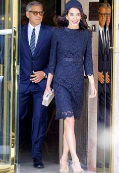 Amal Clooney & George Clooney from The Big Picture: Today's Hot Pics The stylish couple are spotted leaving their hotel in Rome for a visit to the Vatican. Amal Clooney, George Clooney, Holiday Fashion, Star Fashion, Look Fashion, Lace Outfit, Lace Dress, Quirky Shoes, Atelier Versace