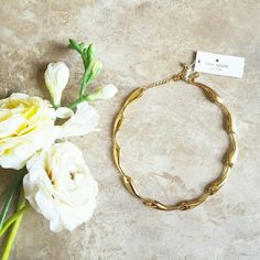 """Kate Spade Foiled Petals Collar Necklace Gold Absolutely gorgeous, NWT Kate Spade Foiled Petals collar necklace with stunning, 12K gold- plated hardware and lobster clasp closure. Approx. 13"""" in length w/ 3"""" extender. Ships w/ Kate Spade dust bag. kate spade Jewelry Necklaces"""