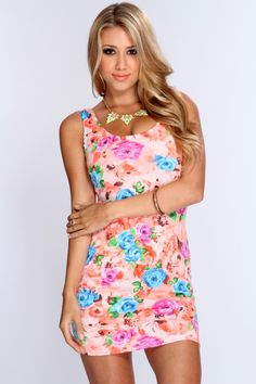 One part elegant, one part sexy, make an alluring entrance in this bold, body-hugging dress. From cocktail parties to date night, youll undoubtedly draw attention in this distinctive piece. Featuring floral printed pattern, scoop neckline, sleeveless style, short length, and finished with a sexy curve hugging tight fit. 96% polyester 4% spandex. Made in USA