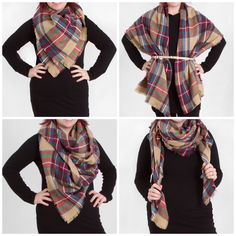 4 Ways to Wear a Blanket Scarf: Look By M Tartan Plaid Scarf from Gliks.com