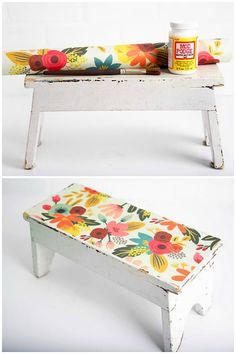 Have a wooden stool that needs a makeover? I revamped an antique wood stool find with pretty paper and Mod Podge. This is a fun DIY project that is really EASY to do! You can use the same method for other furniture such as chairs, coffee tables, and more. Furniture Projects, Furniture Makeover, Wood Projects, Diy Furniture, Antique Furniture, How To Decoupage Furniture, Bar Stool Makeover, Coffee Table Makeover, Funky Painted Furniture