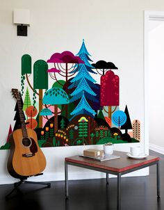Take a trip to Patrick's Hruby magical forest in this vibrant wall decal by Blik. Available in 2 sizes - small or large.