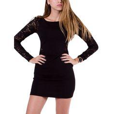 78f3711c9b7 BSB Μαύρο μακρυμάνικο pencil φόρεμα, δαντελωτά μανίκια Pencil, Dresses With  Sleeves, Long Sleeve